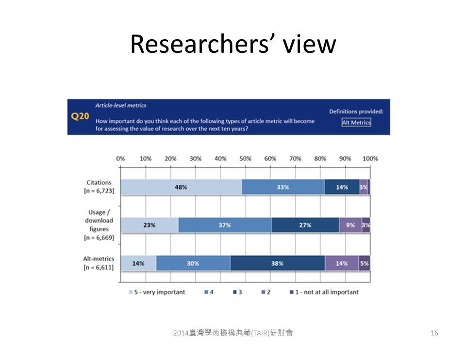Researchers' view 2014 臺灣學術機構典藏 (TAIR) 研討會 16