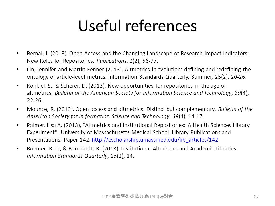 Useful references Bernal, I. (2013).