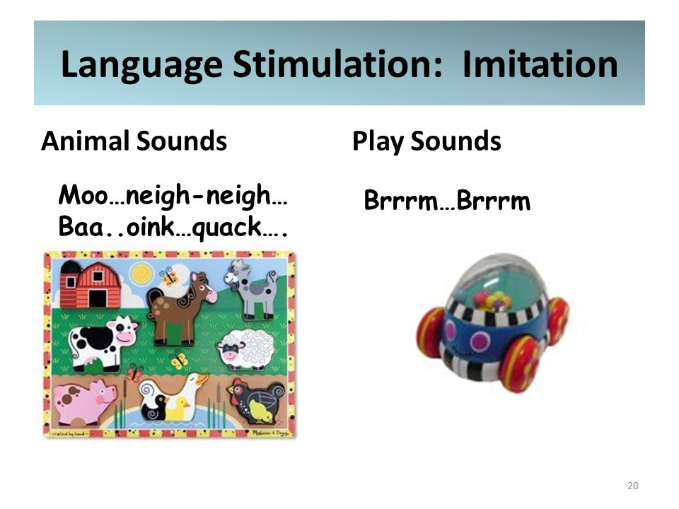 Language Stimulation: Imitation Animal SoundsPlay Sounds 20 Brrrm…Brrrm Moo…neigh-neigh… Baa..oink…quack….
