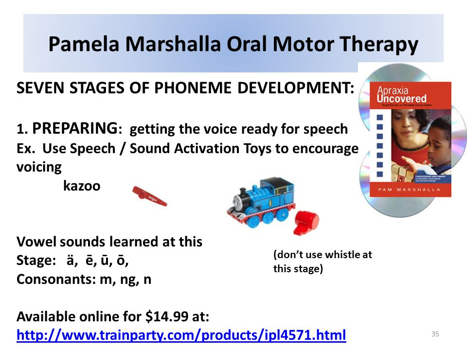 Pamela Marshalla Oral Motor Therapy 35 SEVEN STAGES OF PHONEME DEVELOPMENT: 1.