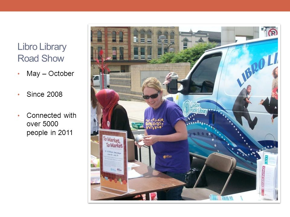 Libro Library Road Show May – October Since 2008 Connected with over 5000 people in 2011