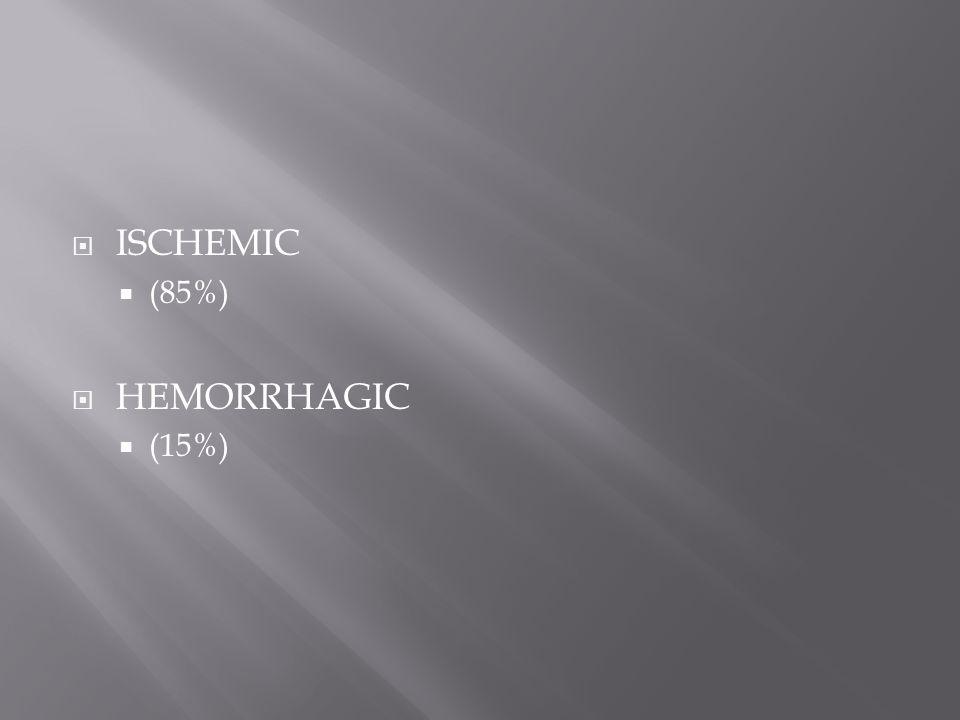  ISCHEMIC  (85%)  HEMORRHAGIC  (15%)