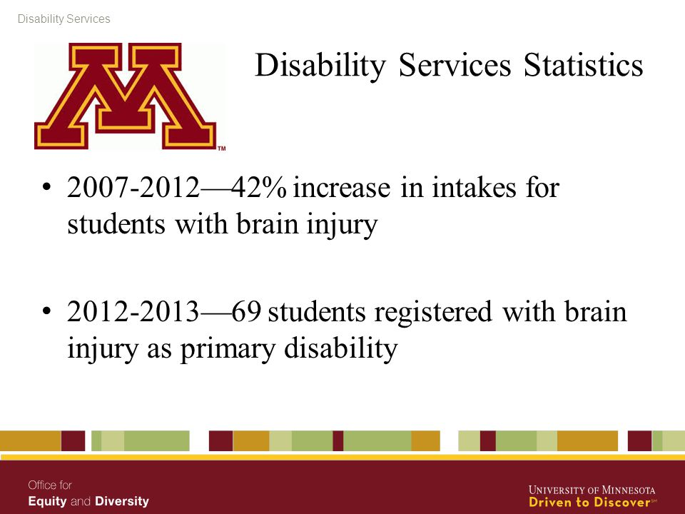 Disability Services Disability Services Statistics 2007-2012—42% increase in intakes for students with brain injury 2012-2013—69 students registered with brain injury as primary disability