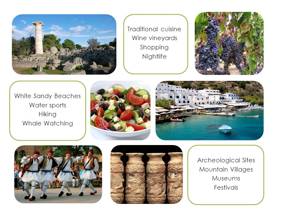 Archeological Sites Mountain Villages Museums Festivals White Sandy Beaches Water sports Hiking Whale Watching Traditional cuisine Wine vineyards Shopping Nightlife