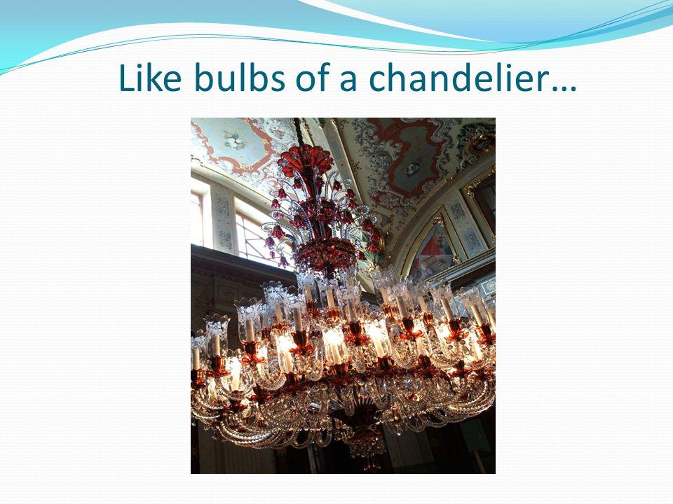 Like bulbs of a chandelier…