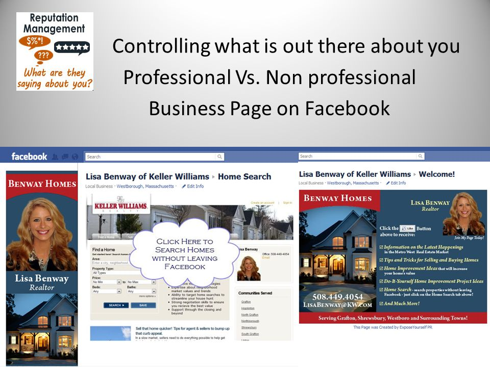 Controlling what is out there about you Professional Vs. Non professional Business Page on Facebook