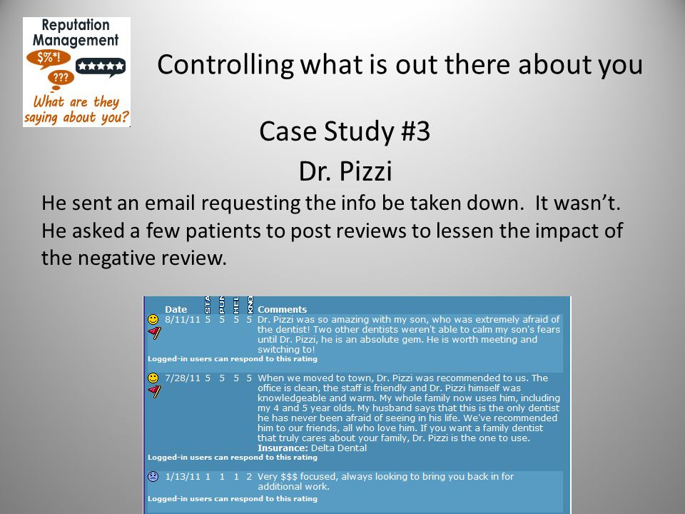 Controlling what is out there about you Case Study #3 Dr. Pizzi He sent an email requesting the info be taken down. It wasn't. He asked a few patients