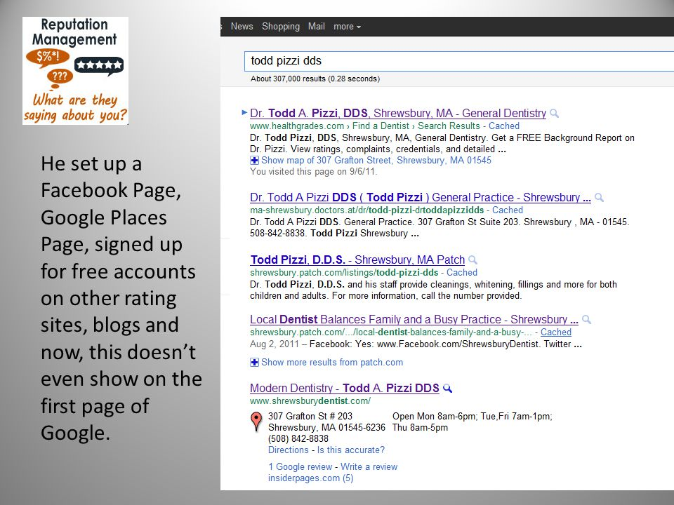 about you Case Study #3 He set up a Facebook Page, Google Places Page, signed up for free accounts on other rating sites, blogs and now, this doesn't even show on the first page of Google.