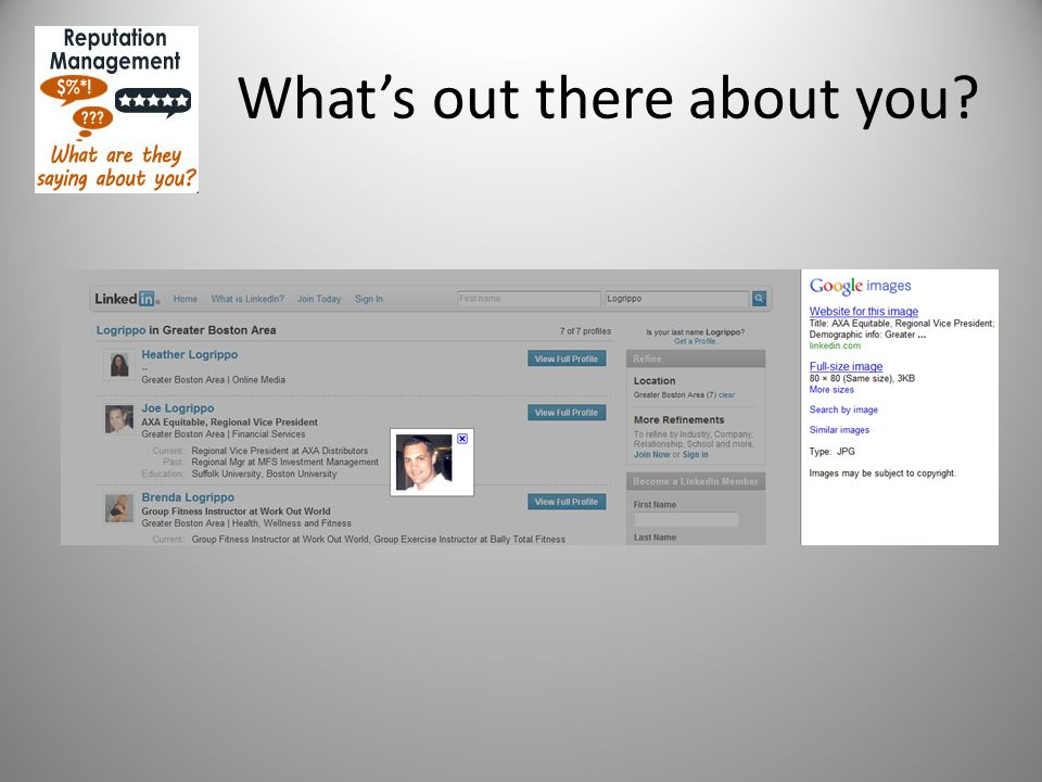 Controlling what is out there about you Setting up Free accounts on review sites Zillow.com RateMyAgent.com HomeThinking.com IncredibleAgents.com AngiesList.com LinkedIn.com ActiveRain.com
