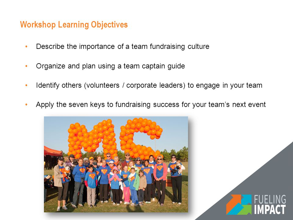 Workshop Learning Objectives Describe the importance of a team fundraising culture Organize and plan using a team captain guide Identify others (volunteers / corporate leaders) to engage in your team Apply the seven keys to fundraising success for your team's next event