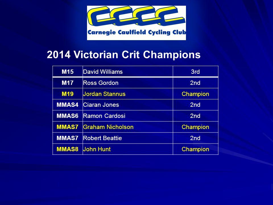 2014 Victorian Crit Champions M15David Williams3rd M17Ross Gordon2nd M19Jordan StannusChampion MMAS4Ciaran Jones2nd MMAS6Ramon Cardosi2nd MMAS7Graham NicholsonChampion MMAS7Robert Beattie2nd MMAS8John HuntChampion