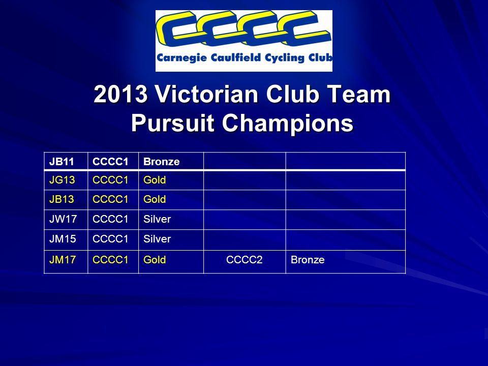 2013 Victorian Club Team Pursuit Champions JB11CCCC1Bronze JG13CCCC1Gold JB13CCCC1Gold JW17CCCC1Silver JM15CCCC1Silver JM17CCCC1GoldCCCC2Bronze