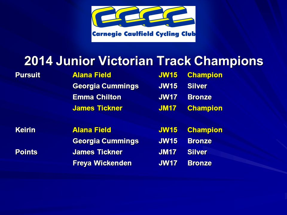 2014 Junior Victorian Track Champions PursuitAlana FieldJW15Champion Georgia CummingsJW15Silver Emma ChiltonJW17Bronze James TicknerJM17Champion KeirinAlana FieldJW15Champion Georgia CummingsJW15Bronze PointsJames TicknerJM17Silver Freya WickendenJW17Bronze