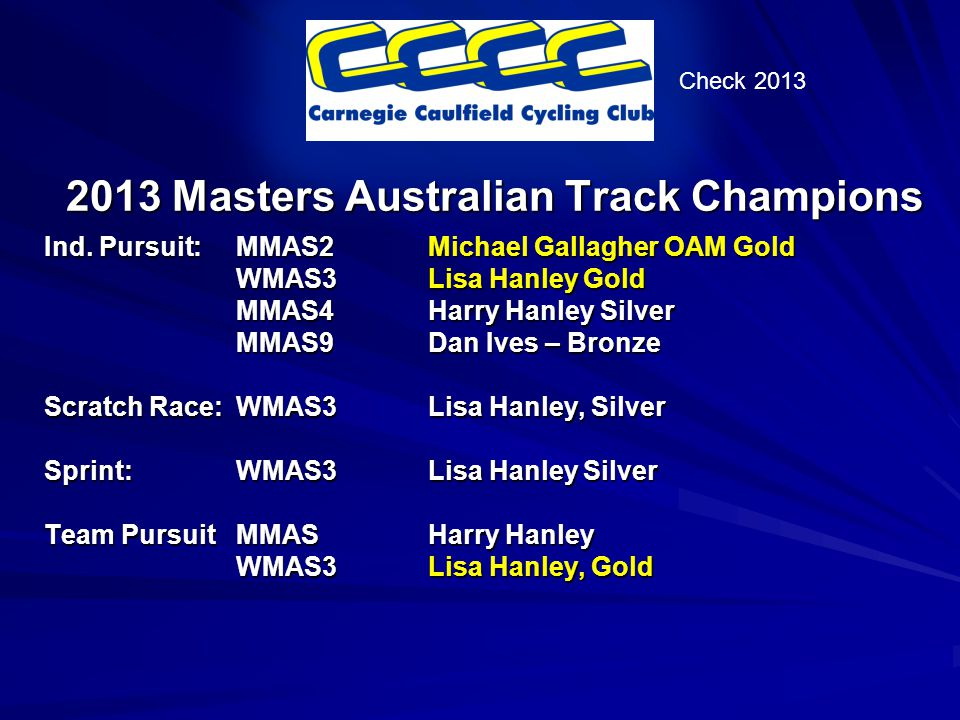 2013 Masters Australian Track Champions Ind.