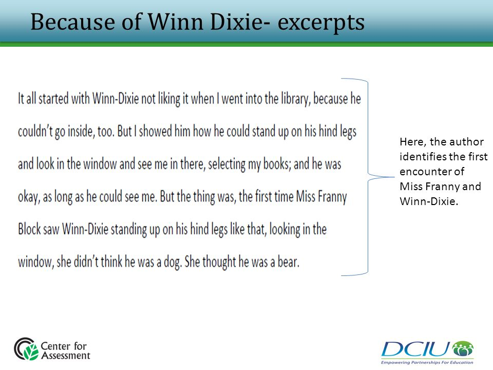 Because of Winn Dixie- excerpts Here, the author identifies the first encounter of Miss Franny and Winn-Dixie.