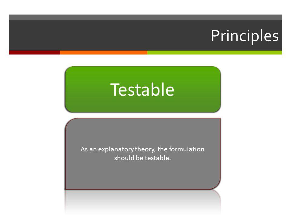 Principles Testable