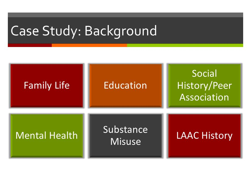 Case Study: Background Family LifeEducation Social History/Peer Association Mental Health Substance Misuse LAAC History