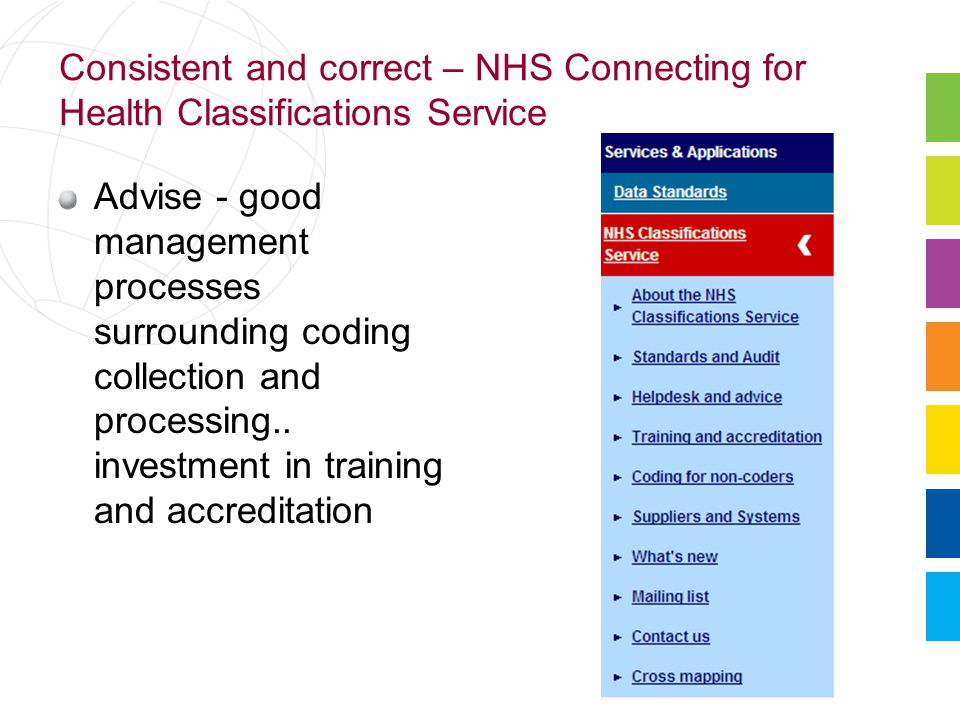 Consistent and correct – NHS Connecting for Health Classifications Service Advise - good management processes surrounding coding collection and processing..