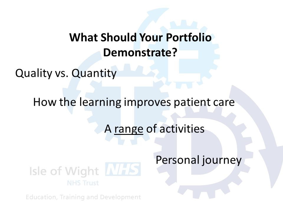 Quality vs. Quantity What Should Your Portfolio Demonstrate? How the learning improves patient care A range of activities Personal journey