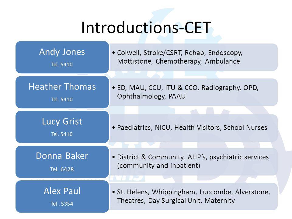 Introductions-CET Colwell, Stroke/CSRT, Rehab, Endoscopy, Mottistone, Chemotherapy, Ambulance Andy Jones Tel. 5410 ED, MAU, CCU, ITU & CCO, Radiograph