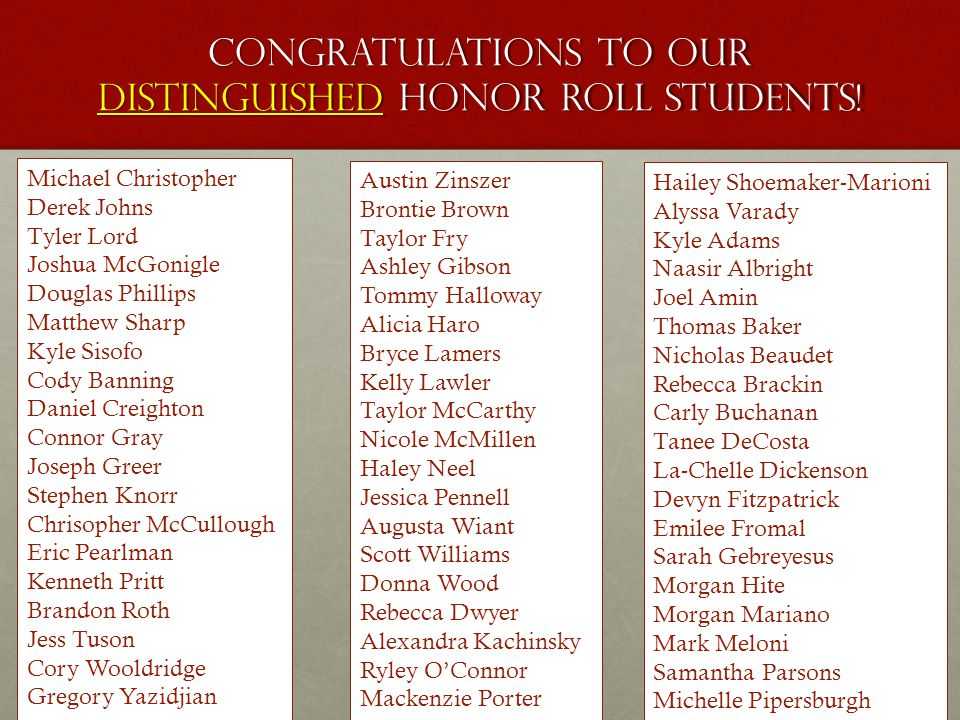 Congratulations to our distinguished honor roll students.