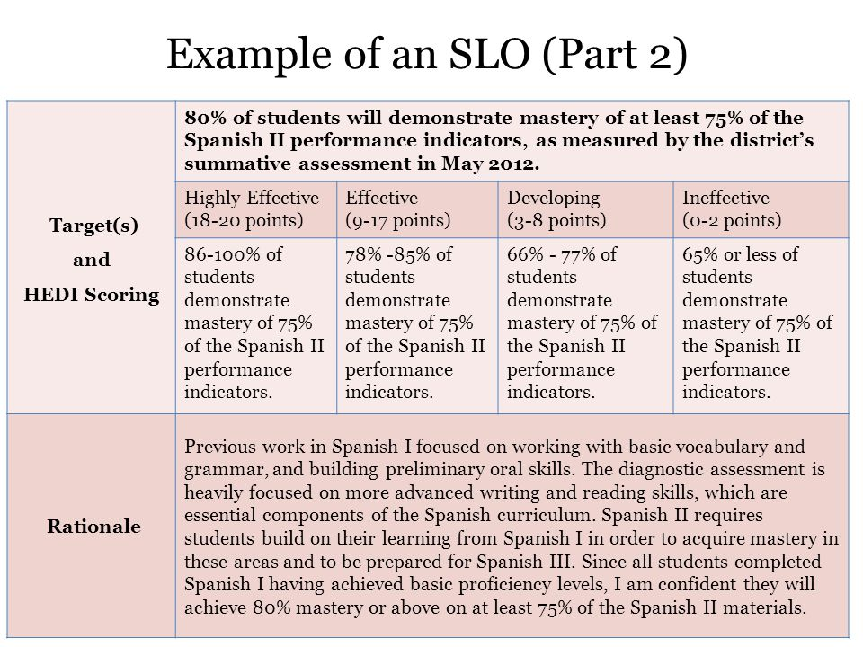 Example of an SLO (Part 2) 8 Target(s) and HEDI Scoring 80% of students will demonstrate mastery of at least 75% of the Spanish II performance indicators, as measured by the district's summative assessment in May 2012.