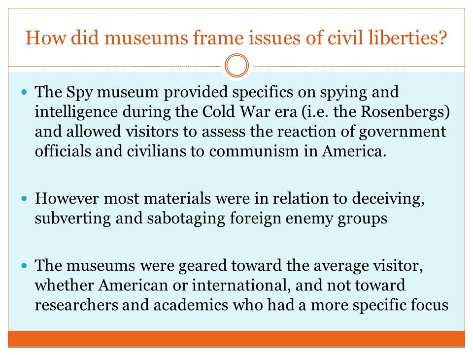 How did museums frame issues of civil liberties.