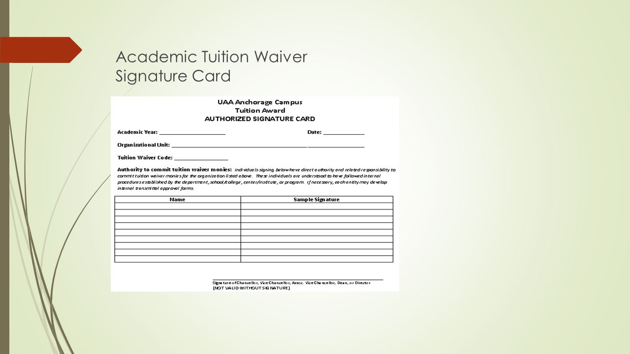 Academic Tuition Waiver Signature Card