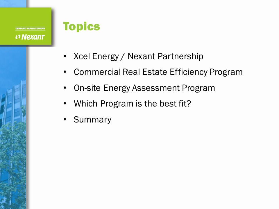 Topics Xcel Energy / Nexant Partnership Commercial Real Estate Efficiency Program On-site Energy Assessment Program Which Program is the best fit.
