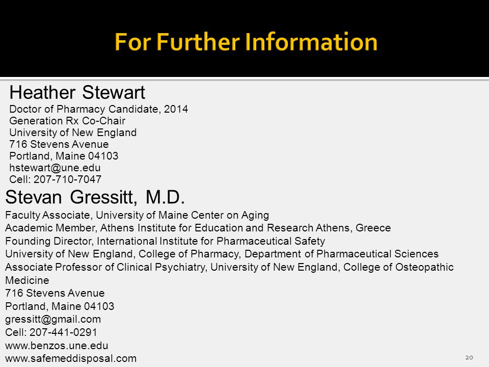 Heather Stewart Doctor of Pharmacy Candidate, 2014 Generation Rx Co-Chair University of New England 716 Stevens Avenue Portland, Maine 04103 hstewart@