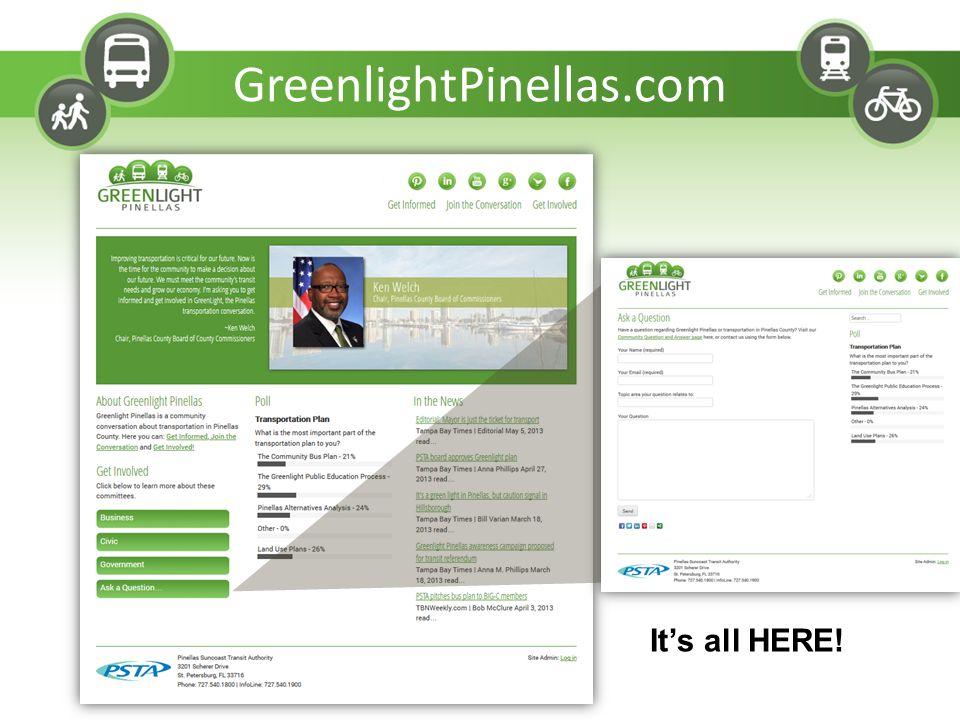 GreenlightPinellas.com It's all HERE!