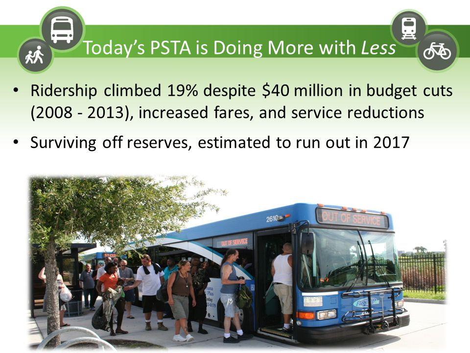 Ridership climbed 19% despite $40 million in budget cuts (2008 - 2013), increased fares, and service reductions Surviving off reserves, estimated to r