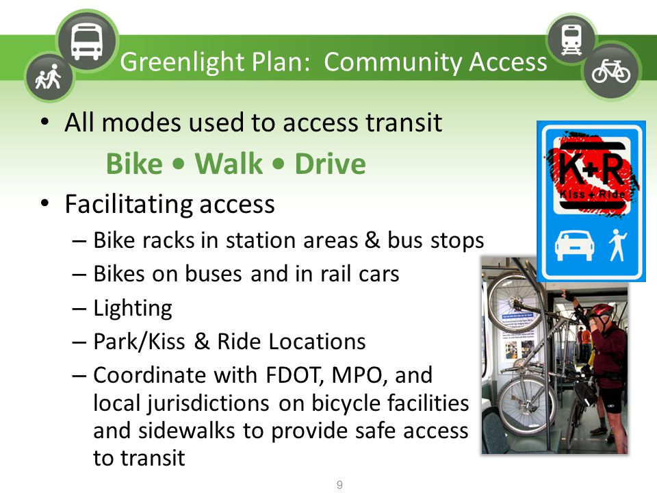 All modes used to access transit Bike Walk Drive Facilitating access – Bike racks in station areas & bus stops – Bikes on buses and in rail cars – Lig