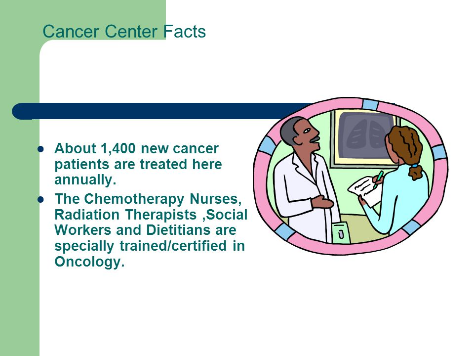Cancer Center Facts About 1,400 new cancer patients are treated here annually. The Chemotherapy Nurses, Radiation Therapists,Social Workers and Dietit