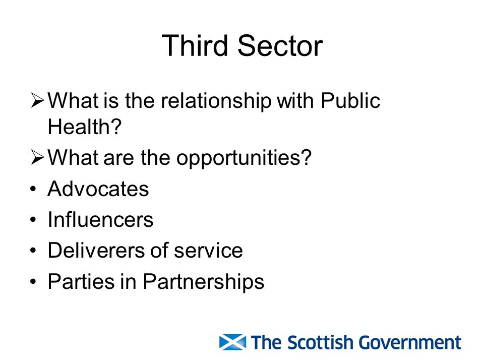 Third Sector  What is the relationship with Public Health.
