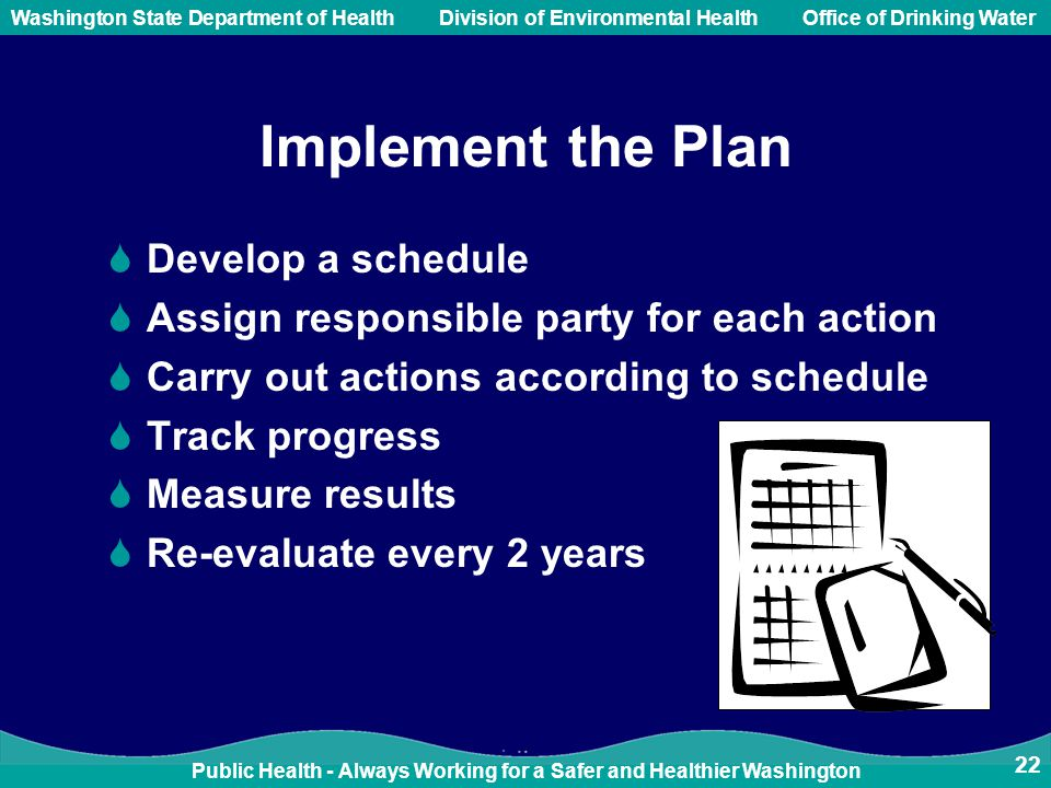 Public Health - Always Working for a Safer and Healthier Washington Washington State Department of Health Division of Environmental HealthOffice of Drinking Water Implement the Plan  Develop a schedule  Assign responsible party for each action  Carry out actions according to schedule  Track progress  Measure results  Re-evaluate every 2 years 22