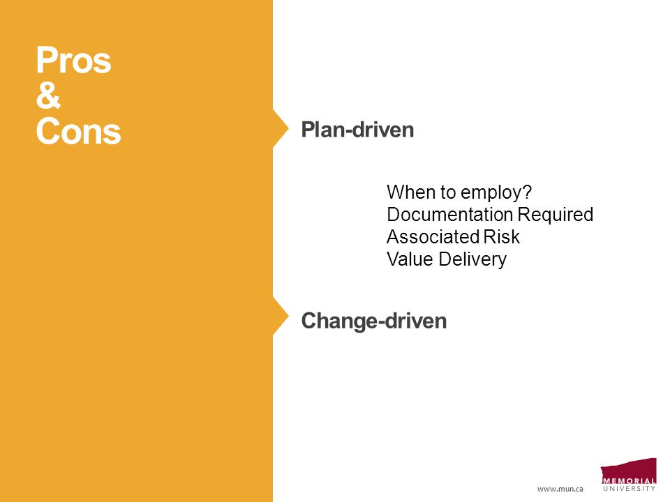 www.mun.ca Pros & Cons Plan-driven Change-driven When to employ.