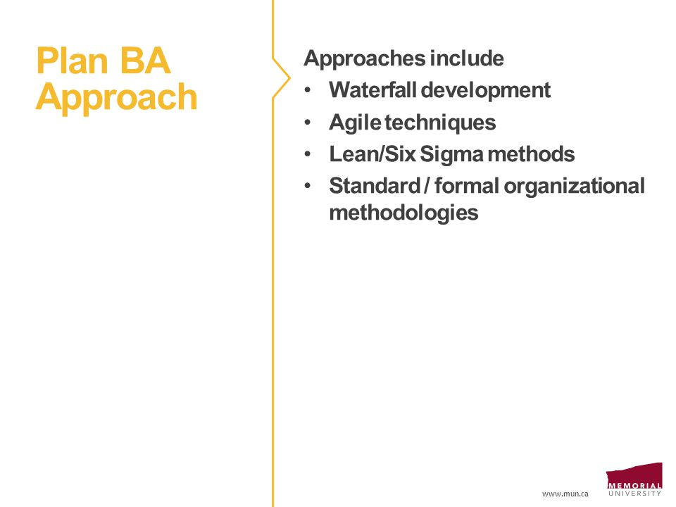 www.mun.ca Plan BA Approach Approaches include Waterfall development Agile techniques Lean/Six Sigma methods Standard / formal organizational methodologies