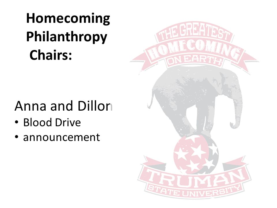 Homecoming Philanthropy Chairs: Anna and Dillon Blood Drive announcement