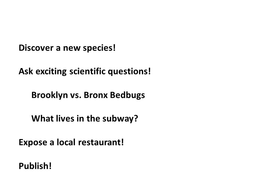 Discover a new species! Ask exciting scientific questions! Brooklyn vs. Bronx Bedbugs What lives in the subway? Expose a local restaurant! Publish!