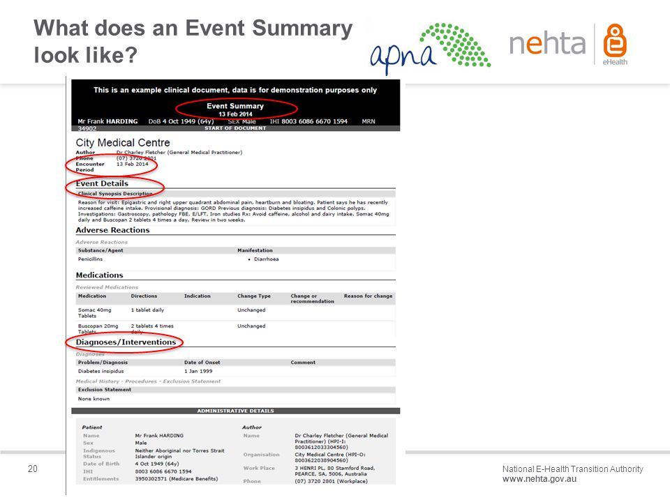 20 National E-Health Transition Authority www.nehta.gov.au Draft – Not for distribution What does an Event Summary look like