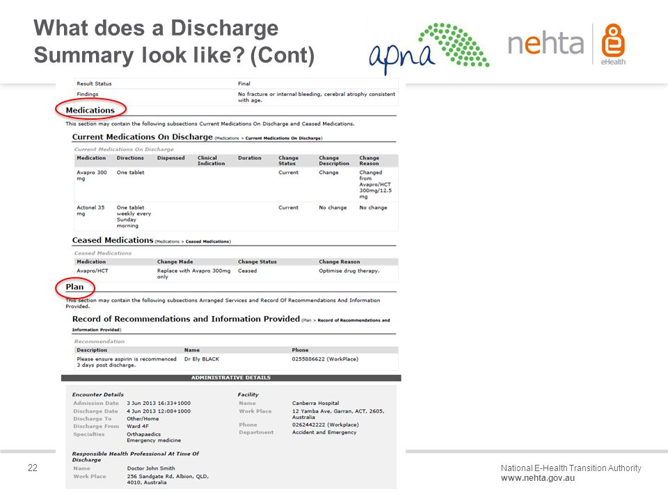 22 National E-Health Transition Authority www.nehta.gov.au Draft – Not for distribution What does a Discharge Summary look like.