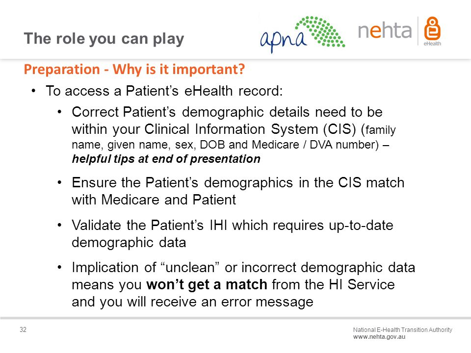 32 National E-Health Transition Authority www.nehta.gov.au Draft – Not for distribution Preparation - Why is it important.
