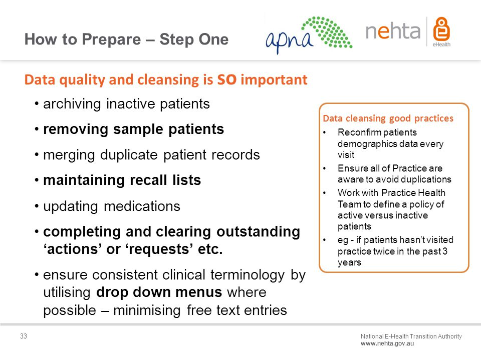33 National E-Health Transition Authority www.nehta.gov.au Draft – Not for distribution Data quality and cleansing is so important archiving inactive patients removing sample patients merging duplicate patient records maintaining recall lists updating medications completing and clearing outstanding 'actions' or 'requests' etc.