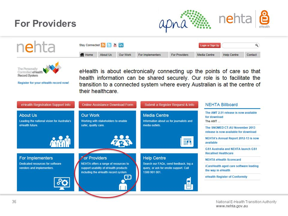 36 National E-Health Transition Authority www.nehta.gov.au Draft – Not for distribution For Providers