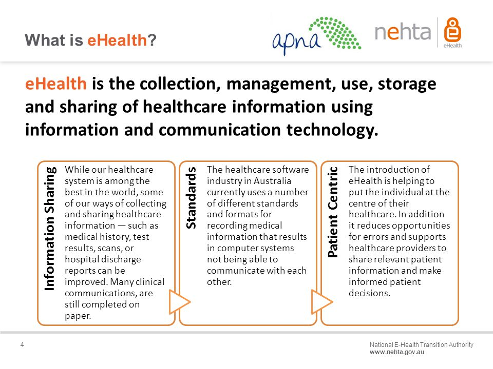 4 National E-Health Transition Authority www.nehta.gov.au Draft – Not for distribution What is eHealth.
