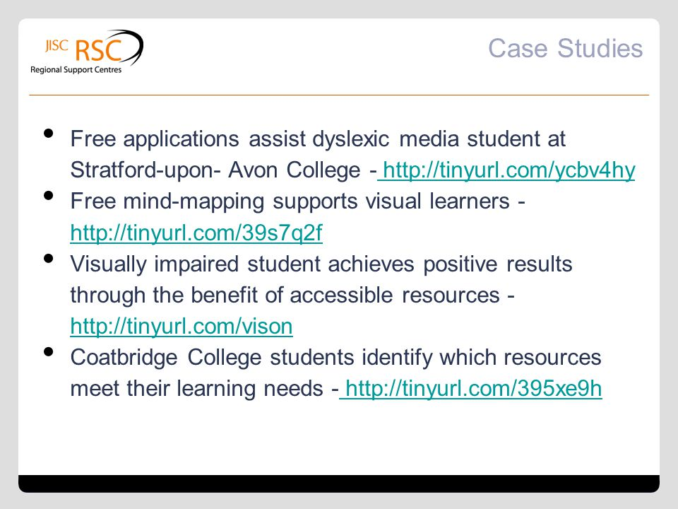 Case Studies Free applications assist dyslexic media student at Stratford-upon- Avon College - http://tinyurl.com/ycbv4hy http://tinyurl.com/ycbv4hy F