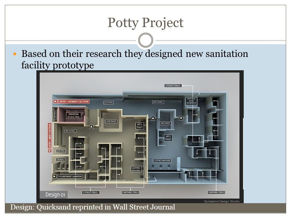 Potty Project Based on their research they designed new sanitation facility prototype Design: Quicksand reprinted in Wall Street Journal