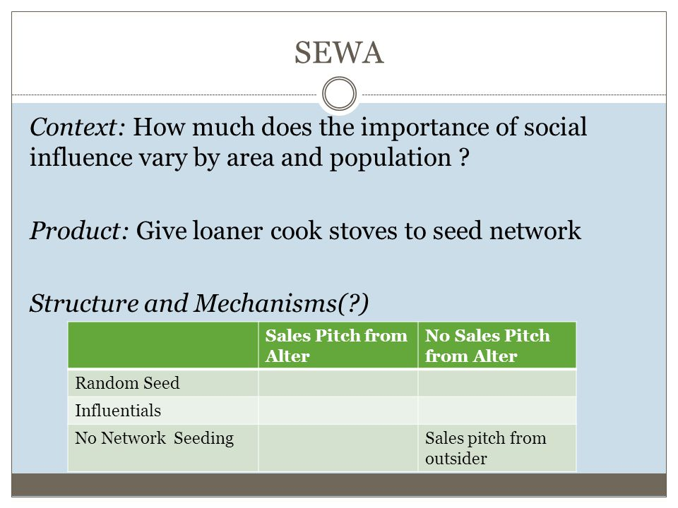 SEWA Context: How much does the importance of social influence vary by area and population .