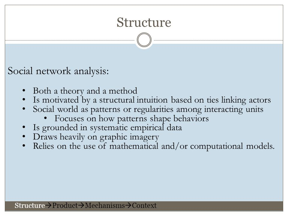 Social network analysis: Both a theory and a method Is motivated by a structural intuition based on ties linking actors Social world as patterns or regularities among interacting units Focuses on how patterns shape behaviors Is grounded in systematic empirical data Draws heavily on graphic imagery Relies on the use of mathematical and/or computational models.